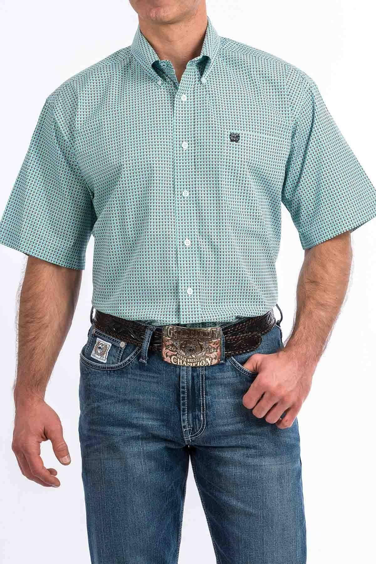 Cinch Men's Diamond Geo Print Short Sleeve Western Shirt