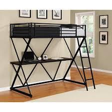 dhp x twin metal loft bed over desk workstation black walmart com