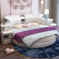 camas dormitorio schlafzimmer möbel ziemlich leder bett rahmen runde betten mit tv