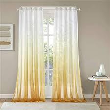 lindong farbverlauf voile vorhang transparent gardinen mit ösen dekoschal für wohnzimmer schlafzimmer 1er pack gelb 140x225cm