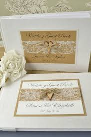 Rustic Style Personalised Wedding Guest Book Wooden Heart Button Lace Design