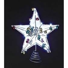 15 LED Lighted Battery Operated Mirrored Star Christmas Tree Topper With Timer