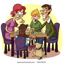 A Cartoon Of Family Playing Boardgames