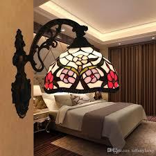 großhandel glasfarbton jahrgang led wandleuchte barock europäische wohnzimmer schlafzimmer wandleuchte beleuchtung blumen muster applique