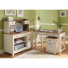 Ocean Isle Bisque And Natural Pine 4 Piece Desk