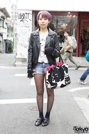 leather jacket short shorts u0026 lavender hair in harajuku