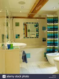 bunt gestreiften duschvorhang badewanne im modernen