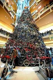 A 12 Meters Tall Christmas Tree Decorated With 230 Bicycles Is Installed At Shopping Mall
