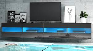 tv lowboard rial in hochglanz schwarz tv unterteil hängend board 200 x 35 cm mit led beleuchtung