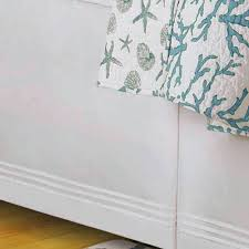 Box Pleat Bed Skirt by Cora Turquoise Coral Coastal Quilt Bedding