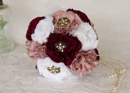White Dusty Pink And Burgundy Layered Wedding Bridal Bouquet