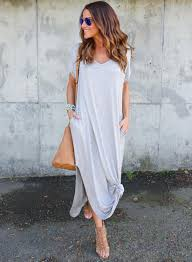 women u0027s v neck short sleeve loose fit side slit maxi dress roawe com