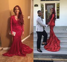 2017 red long mermaid evening dresses with long sleeves deep