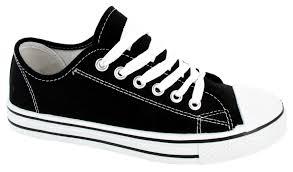 womens flat pumps ladies shoes canvas plimsolls girls boys lace