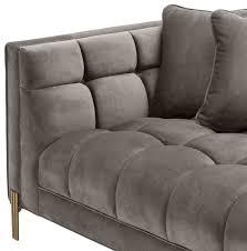 casa padrino luxus lounge sofa grau messingfarben 223 x 95 x h 68 cm linksseitiges wohnzimmer sofa mit edlem samtsoff und 2 kissen