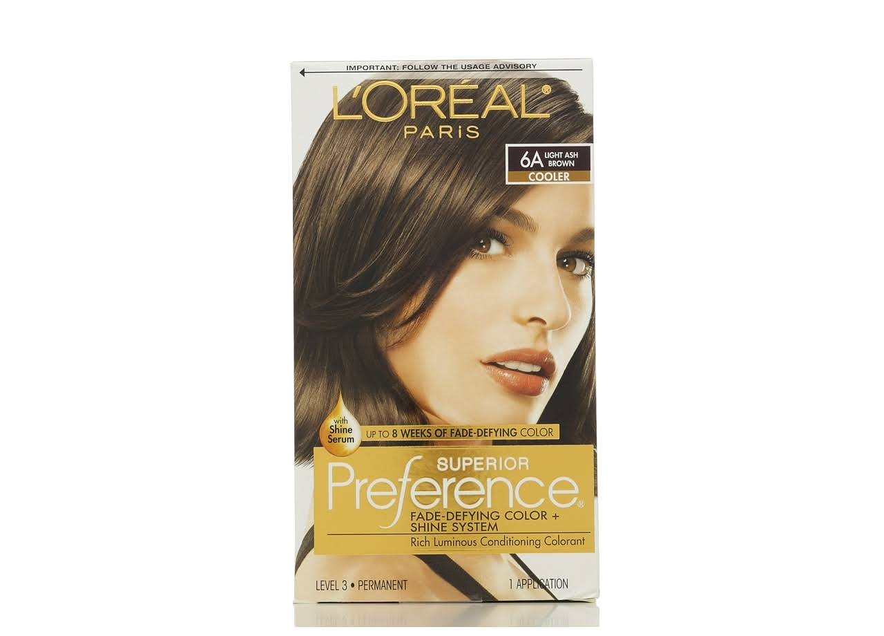 L'Oréal Superior Preference Hair Color - 6A Light Ash Brown, 1 Application