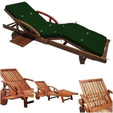 Garden Sun Lounger With Green Cushion Wooden Pool Deckchair Adjustable Recliner