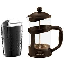 Ovente Electric Coffee Bean Grinder And French Press Black