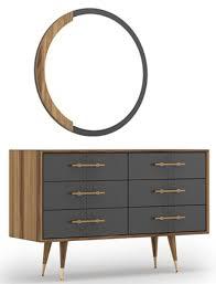 casa padrino luxus schlafzimmer set braun grau messingfarben 1 kommode mit 6 schubladen 1 wandspiegel schlafzimmer schrank mit spiegel