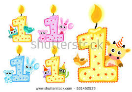 Set Happy First Birthday Candle and Animals Isolated on white background First birthday template for