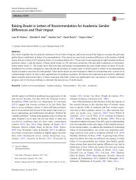 PDF Raising Doubt In Letters Of Recommendation For Academia Gender
