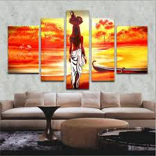 5 teilig wandbild gemälde hochwertiger frau im sonnenuntergang leinwand bilder moderne kunstdruck als ölbild für zuhause wohnzimmer schlafzimmer küche