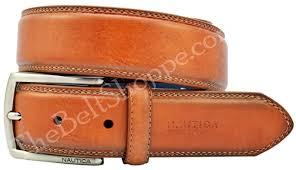 nautica men u0027s double stitched casual leather belt cognac tan