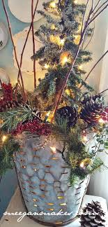 Place Your Small Tree In Olive Oil Bucket And String The Lights From Bottom Of Up All Around Fill With Pine