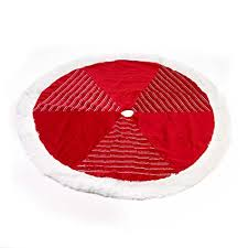 Seasons Designs 56 Inch Red And White Striped Velvet Christmas Tree Skirt With Faux Fur