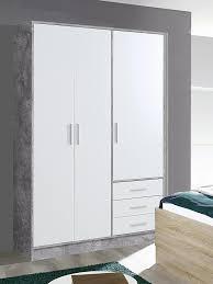 kleiderschrank schlafzimmerschrank schrank betonoptik weiß 3 türig 145cm neu