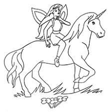 Fairy On Unicorn Named Lancelot Coloring Pages