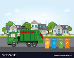 100 Rubbish Truck City Waste Recycling Concept With Garbage Truck Vector Image