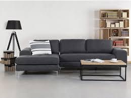 canap d angle design tissu canapé d angle gauche en tissu gris foncé