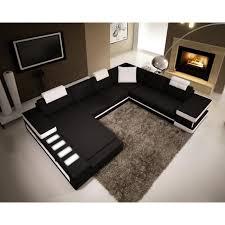 canap d angle cuir noir canapé d angle panoramique en cuir noir et blanc achat vente