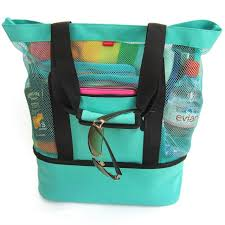 Beach Tote Bag Aruba Mesh With ZIPPER Top and Insulated Picnic