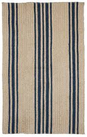 Homespice Decor Cotton Braided Rugs braided rug farmhouse stripe natural and blue homespice