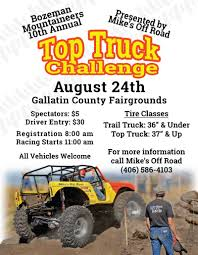 Bozeman Mountaineers Top Truck August 24th | Montana Off Road Magazine Event Coverage Show Me Scalers Top Truck Challenge Big Squid Rc Speedy Autos 2010 Amazing Pictures 2014 Debuts On Four Wheeler Today Photo Image The 2015 Tow Test And Frame Twister Is Brutal Obstacle Course And Coal Chute Youtube North Eastern Scale 3rd Annual Keystone Oto 129 1012 Adrenalin Rush 1948 Willys Challenge Reaches Fishing Line Scania Group Vii New On Dvd Fye Radio Control Enthusiasts Day 1 Video 2011 Hlights Dailymotion