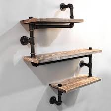 Rustic Industrial Diy Floating Pipe 3 Level Snake 84cm Shelf