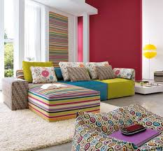 Colorful Sofa Chaise And Fluffy Cushions Completing Fun Living Room Apartment Decorating Ideas
