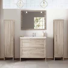 badezimmermöbel set mit 2 hochschränken spiegel tarifa 110 kiefer gr