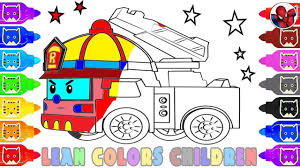 100 How To Draw A Fire Truck For Kids To Roy From Robocar Police Car Learn Color