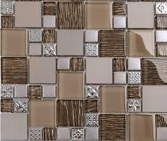 modern mosaic tile backsplash beige metal textured glass mosaic