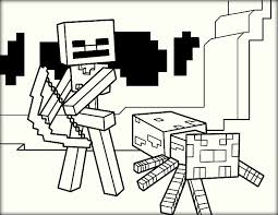 Minecraft Coloring Pages Wither Skeleton And Spider