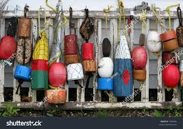 Decorative Lobster Trap Buoys by Old Wooden Buoys Stock Photo 1399056 Shutterstock