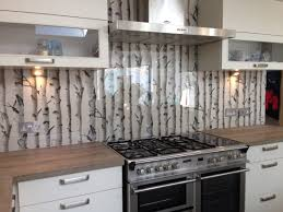 Metallic Tile Effect Wallpaper by Clear Glass Splashback With Great Effect Wallpaper Behind