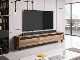mirjan24 tv lowboard nord stilvoll tv schrank wohnzimmer tv tisch mit drei schubladen farbe wotan eiche wotan eiche anthrazit