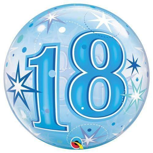 Continental American Corporation Age 18 Bubble Balloon - Blue Starburst