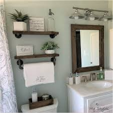 farmhouse bathroom towel rack floating shelves custom wood