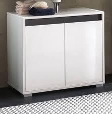 waschbeckenunterschrank weiss hochglanz lack und grau