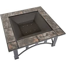 pit set wood burning pit includes screen cover and log